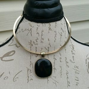 Faux gold choker style necklace with black stone